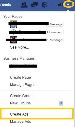 أول خطوة لإنشاء إعلان فيس بوك