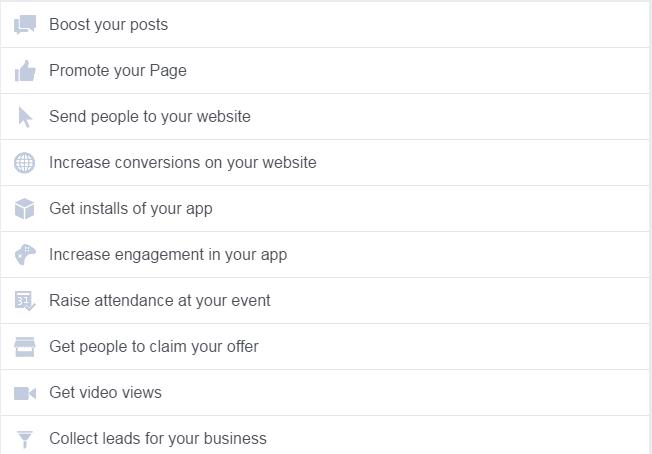 الخطوة الثانية للإعلان عالفيس بوك