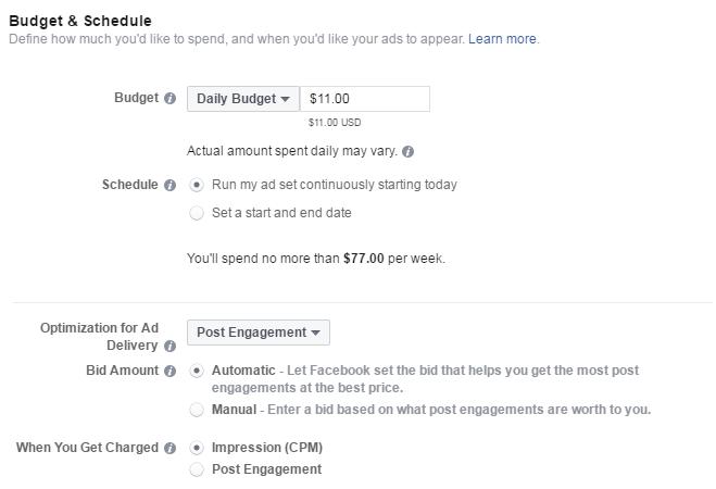 الخطوة الخامسة لإنشاء إعلان عالفيس بوك