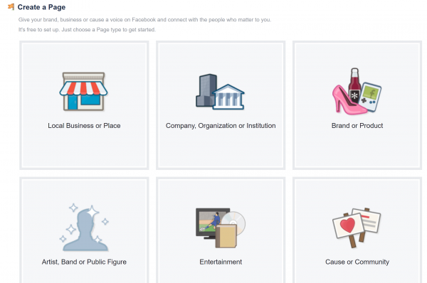 اختيار نوع صفحة الفيس بوك