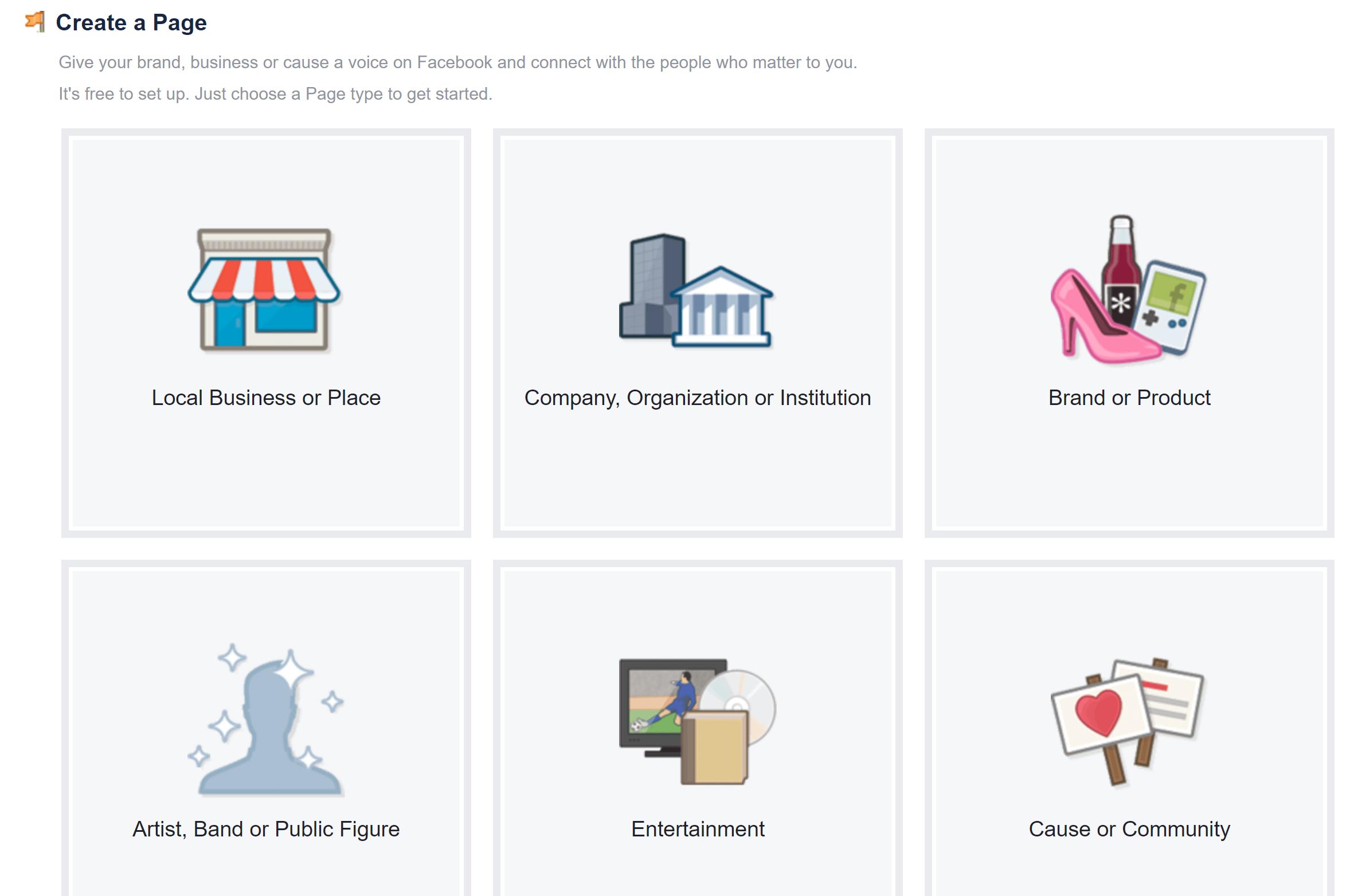 إنشاء صفحة فيس بوك جديدة