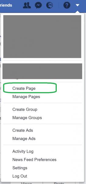 الخطوة الأولى في إنشاء صفحة فيس بوك