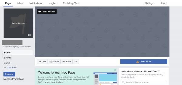 تم إنشاء صفحة فيس بوك
