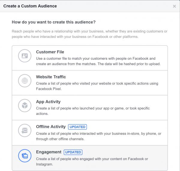 إنشاء جمهور مخصص في إعلانات فيس بوك