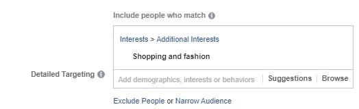 اختيار الاهتمامات في إعلانات الفيس بوك