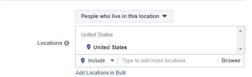 الموقع الجغرافي في إعلانات فيس بوك