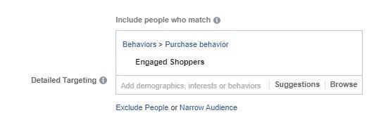 تحديد السلوكيات في الفيس بوك أدز
