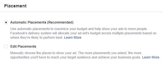 تحديد المواضع في إعلانات فيس بوك